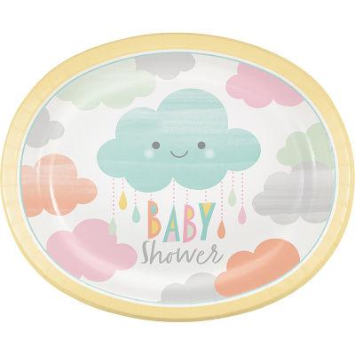 - Mutlu Bulutlar Oval Şekilli Servis Tabağı 8 Adet