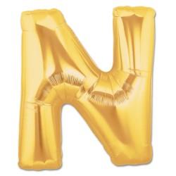 Parti Dünyası - N Harfi Altın Renk Folyo Balon 100 cm