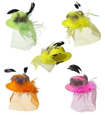 Parti - Neon Renklerde Mini Parti Şapkası Tüylü ve Tüllü