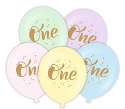 Parti Dünyası - ONE 1 Yaş Altın Renk Baskılı 6 lı Latex Balon