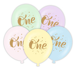 Parti - ONE 1 Yaş Altın Renk Baskılı 6 lı Latex Balon
