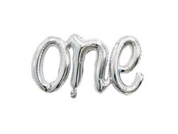 Parti Dünyası - ONE Gümüş Renk Yazı Folyo Balon 50 x 107 cm