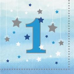 Parti Dünyası - One Little Star Mavi 1 Yaş 16 lı Peçete