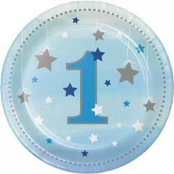 Parti Dünyası - One Little Star Mavi 1 Yaş 8 li Pasta Tabağı