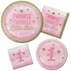 - One Little Star Pembe 1 Yaş EKO Parti seti 16 Kişilik