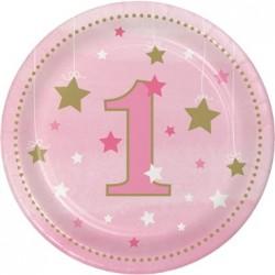 Parti Dünyası - One Little Star Pembe 1 Yaş 8 li Pasta Tabağı