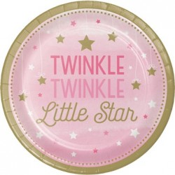 Parti Dünyası - One Little Star Pembe 8 li Tabak