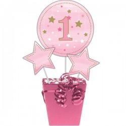 Parti Dünyası - One Little Star Pembe Dekor Çubukları 3 Adet