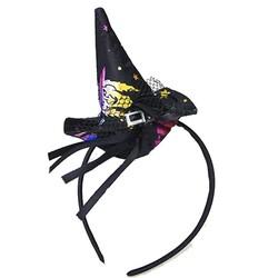 Parti Dünyası - Halloween Desenli Siyah Renk Cadı Şapkası Şeklinde Taç