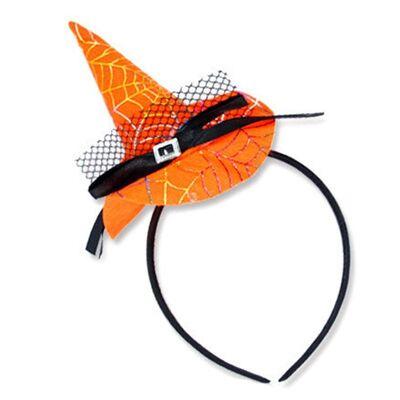 Örümcek Desenli Cadı Şapkası Taç Turuncu Renk