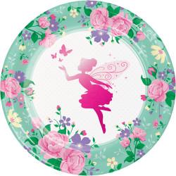 Parti - Parıltılı Çiçek Perisi Tabak 8 Adet