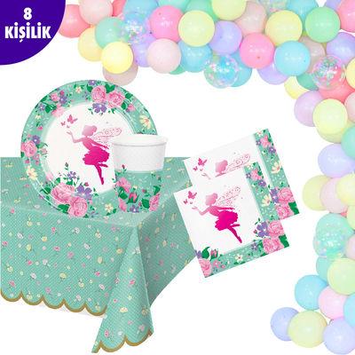Parıltılı Çiçek Perisi Zincir Balon 8Li Parti Seti