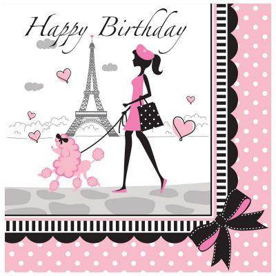 Paris Partisi Happy Birthday 16 lı Peçete