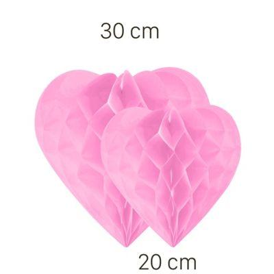 Pembe Kalp Petek Süs Seti 2 Adet 30-20 cm