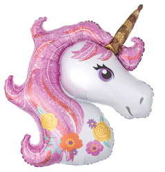 Parti Dünyası - Pembe Unicorn Supershape 82 cm Folyo Balon