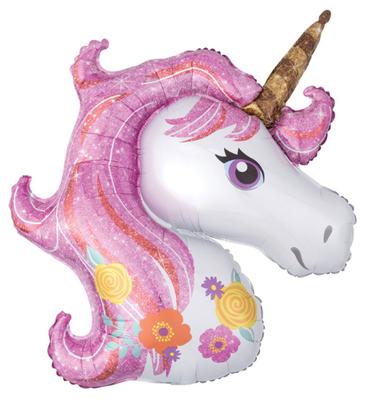Pembe Unicorn Supershape 82 cm Folyo Balon
