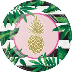 Parti Dünyası - Pineapple Gold Tabak 8 Adet