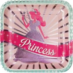Parti Dünyası - Prenses Partisi 8 li Büyük Tabak 25 cm