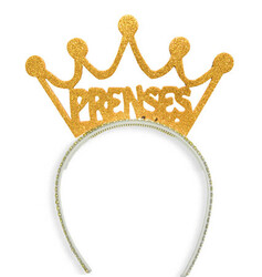Parti Dünyası - Prenses Simli Altın Rengi Taç