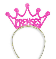 Parti - Prenses Simli Pembe Rengi Taç