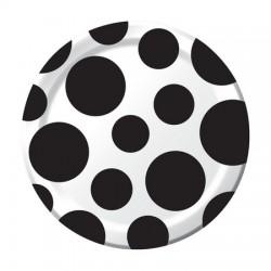 Parti Dünyası - Puanlı Küçük 8 li Siyah Tabak ( 17 cm)