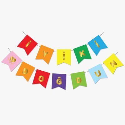 Renkli Gold Yaldızlı İyi ki Doğdun Bayrak Afiş