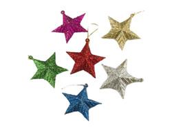 Parti Dünyası - Renkli Simli Yıldız Ağaç Süsleri 6 Adet