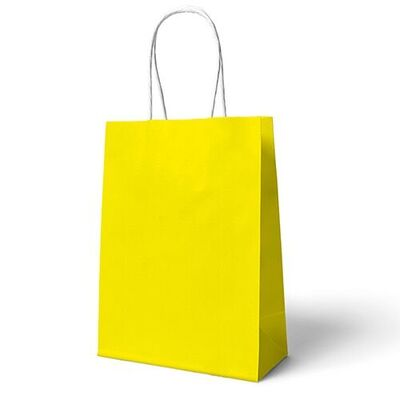 Sarı Büküm Saplı Hediye Çantası 22 x 24 cm