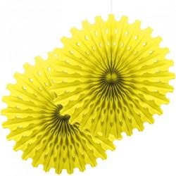 Parti Dünyası - Sarı Renk Yelpaze Süs Seti 2 Adet 50 cm