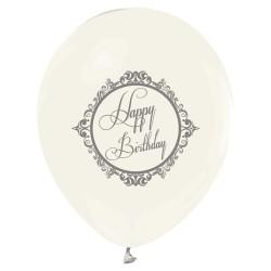 Parti Dünyası - Şeffaf Gümüş Happy Birthday Baskılı 10 Lu Balon