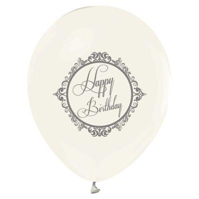 - Şeffaf Gümüş Happy Birthday Baskılı 10 Lu Balon