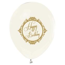 - Şeffaf Altın Happy Birthday Baskılı 100 Lü Latex Balon