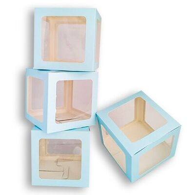 Şeffaf Kutu Mavi Büyük Boy 25 cm 1 Adet