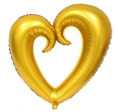 Şekilli Kalp Altın Renk Folyo Balon