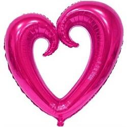Parti Dünyası - Şekilli Kalp Fuşya Renk Folyo Balon