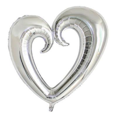 Şekilli Kalp Gümüş Renk Folyo Balon