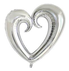 Parti Dünyası - Şekilli Kalp Gümüş Renk Folyo Balon