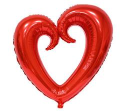 Parti Dünyası - Şekilli Kalp Kırmızı Renk Folyo Balon 109 cm