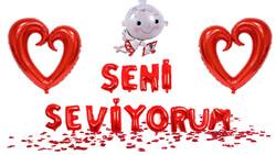 Parti Dünyası - Seni Seviyorum Folyo Balon ve Kırmızı Kalp Balonlar Dekor Seti