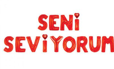Seni Seviyorum Kırmızı Harf Folyo Balon