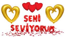Parti Dünyası - Seni Seviyorum Balon ve Altın Renk Kalp Balonlar Dekor Seti