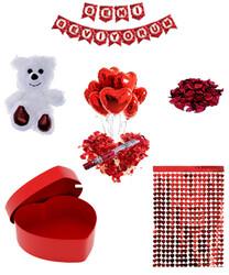 Parti Dünyası - Sevgililer Günü Peluş Ayı Kalp Kutu Mekan Dekor Seti