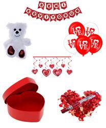 Parti Dünyası - Sevgililer Günü Peluş Ayı ve Kırmızı Kalp Hediye Kutusu ve Süsler