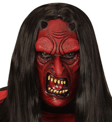Parti - Şeytan Maskesi Latex Malzemeden (Peruk Dahil Değildir)