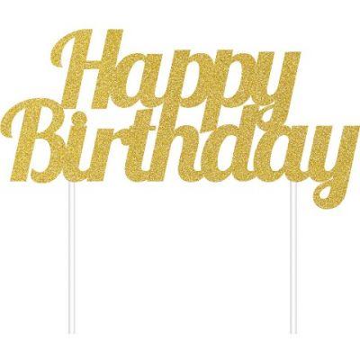 Simli Altın Happy Birthday Çubuklu Yazı