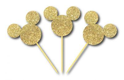 Simli Altın Mickey Kürdan 3 Adet