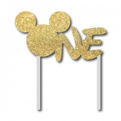 Parti Dünyası - Simli Altın Mickey ONE Çubuklu Yazı