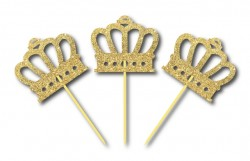 Parti Dünyası - Simli Altın Renk Prens Tacı Kürdan 3 Adet