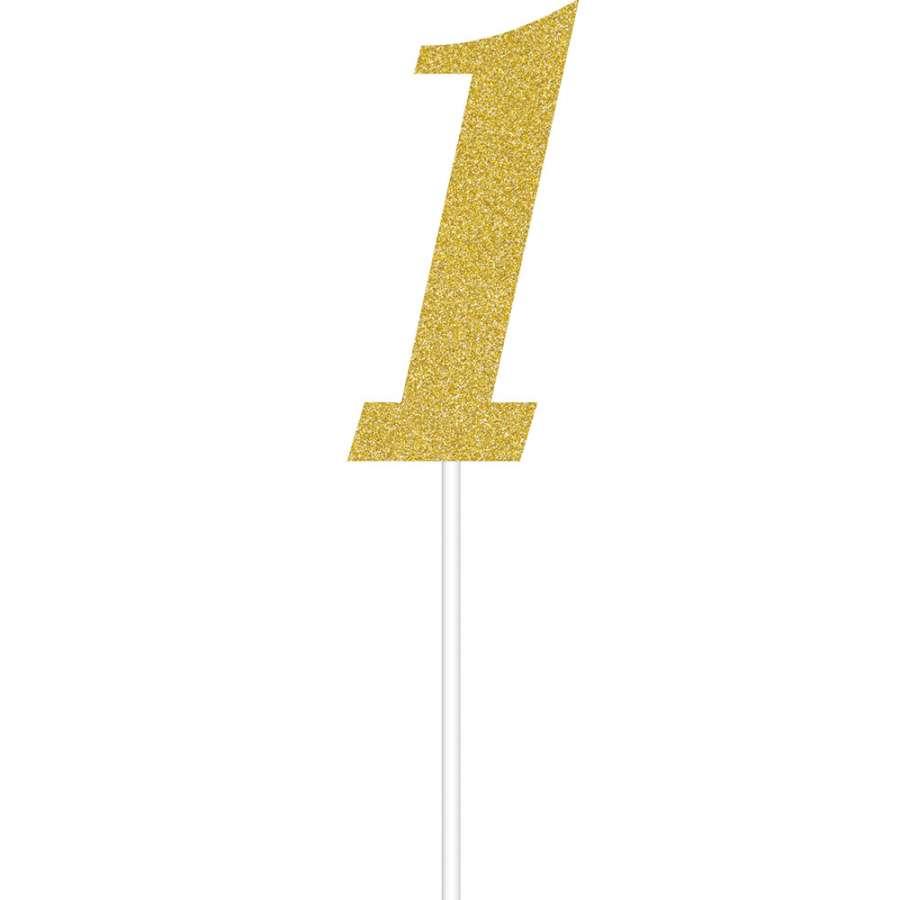 Simli Altın Renk 1 Rakamı Partidunyasicom