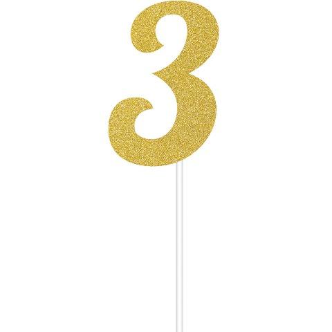 Simli Altın Renk 3 Rakamı Partidunyasicom